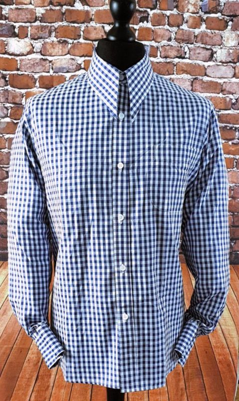 """Jester"" Navy Gingham Spear Point Collar Shirt"